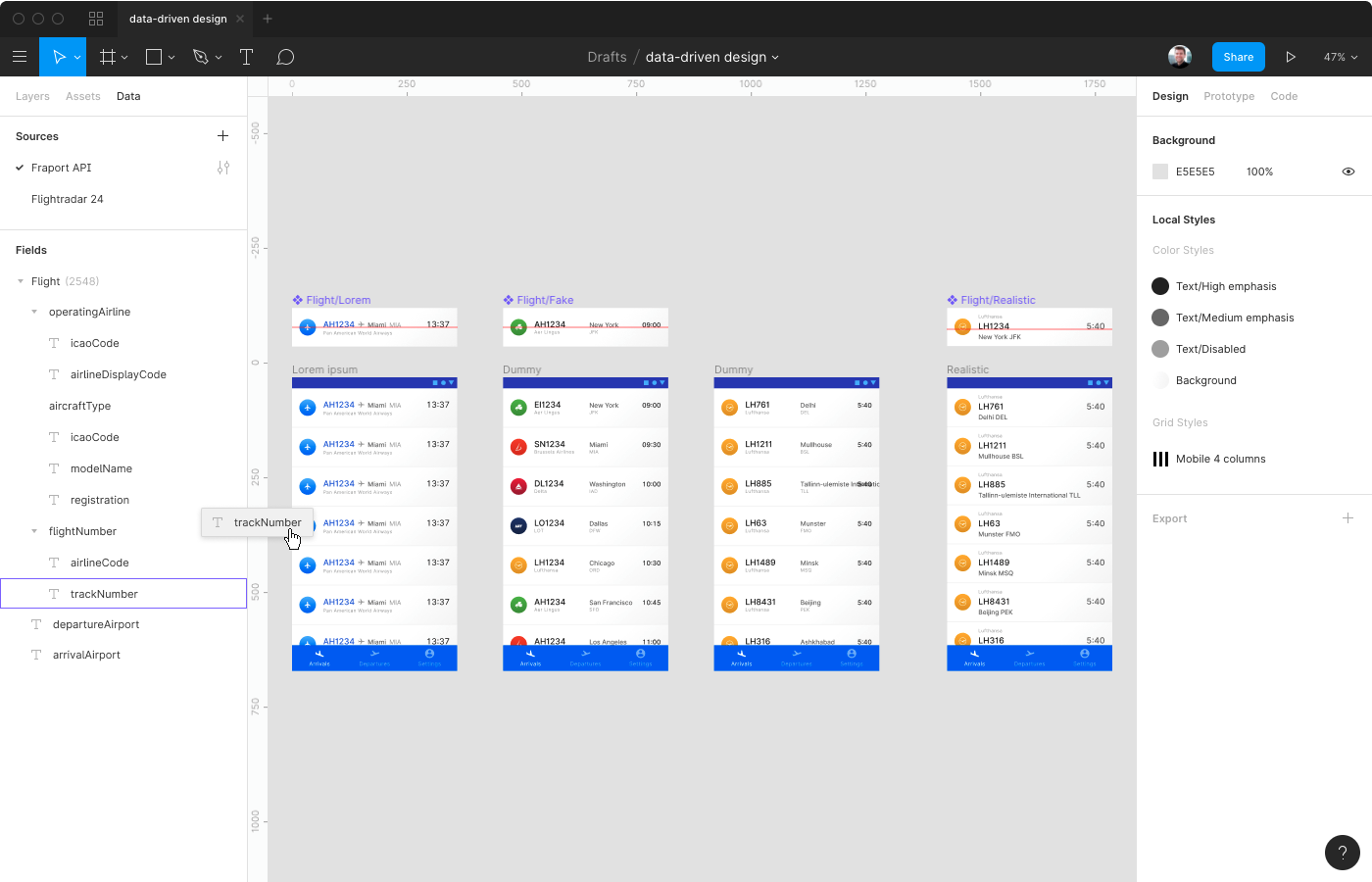 A mock-up of Figma with a data panel