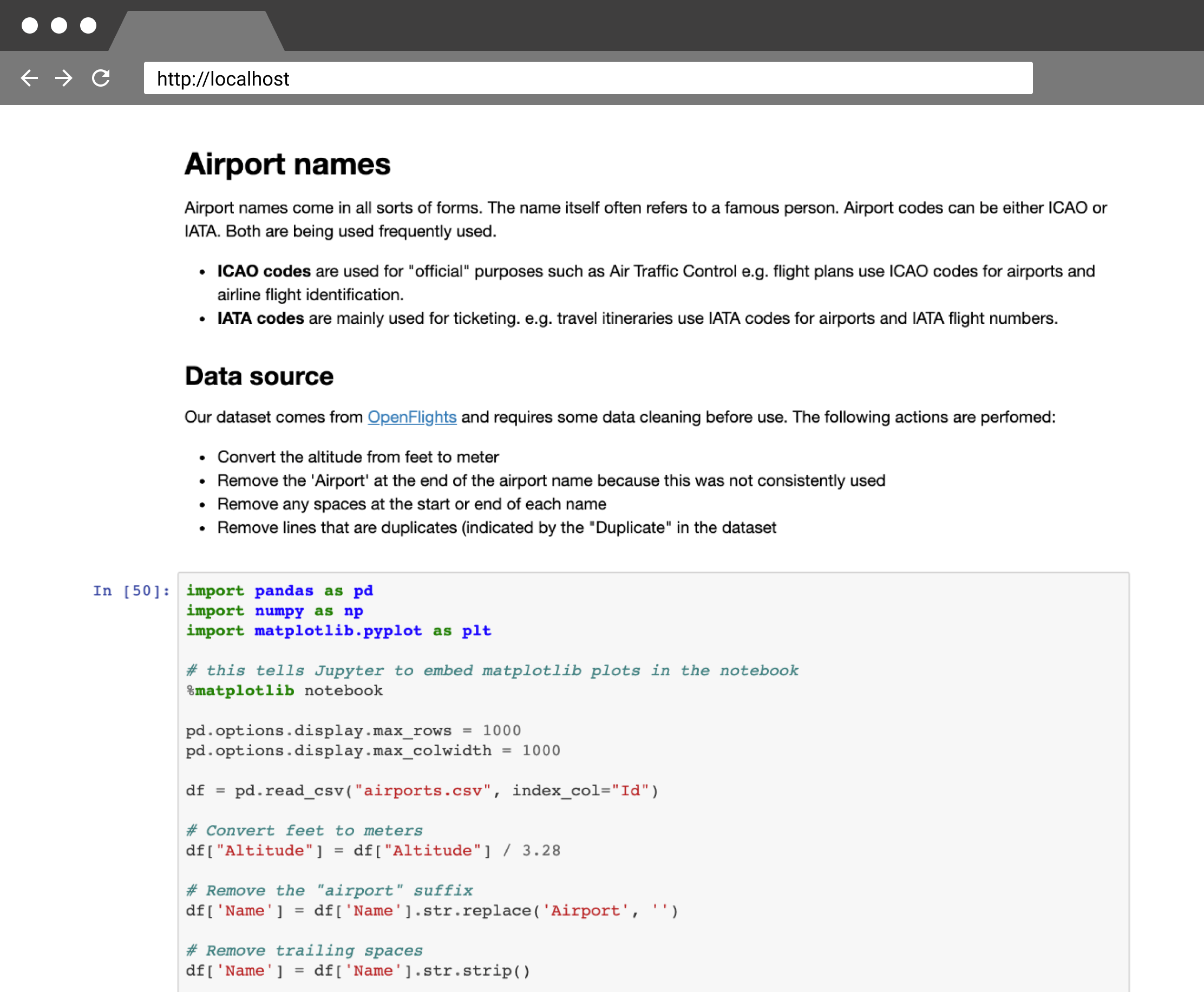 An example of a Jupyter Notebook for airport data, combining code and text